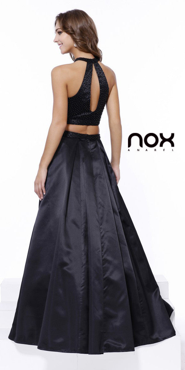 Black Halter Two-Piece Pleated Satin Skirt Prom Dress Long Back View