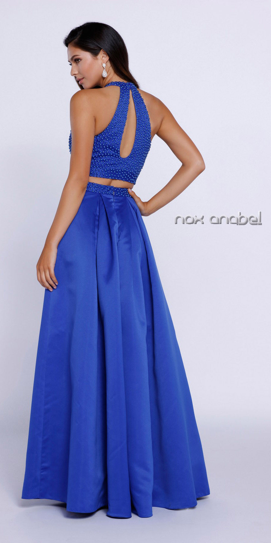 Royal Blue Halter Two-Piece Pleated Satin Skirt Prom Dress Long Back View