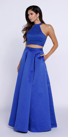 Royal Blue Halter Two-Piece Pleated Satin Skirt Prom Dress Long