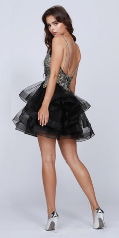 Black Plunging V-Neck Ruffled Skirt Homecoming Short Dress