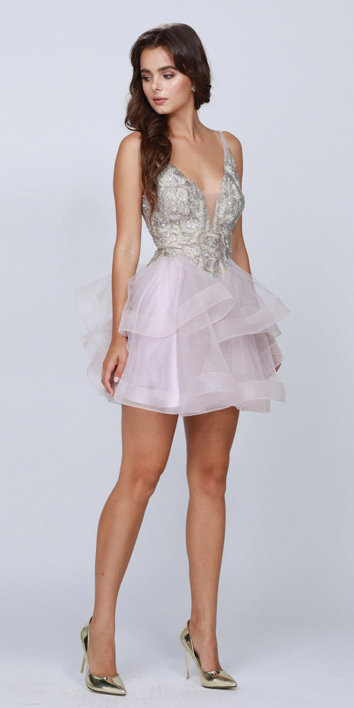 Mauve Plunging V-Neck Ruffled Skirt Homecoming Short Dress
