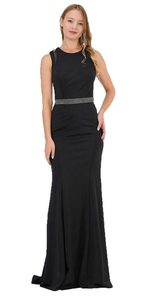 Black Sleeveless Long Prom Dress Beaded Open Back