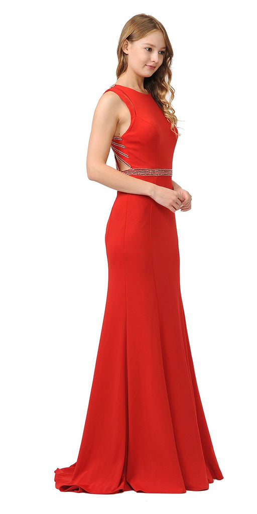 Red Sleeveless Long Prom Dress Beaded Open Back