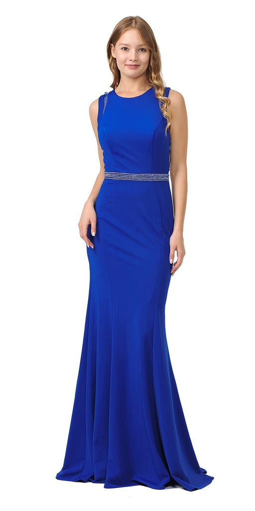 Royal Blue Sleeveless Long Prom Dress Beaded Open Back