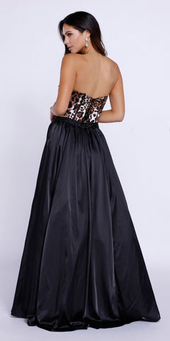 Black Strapless Animal Print Bodice Satin Skirt Long Prom Dress