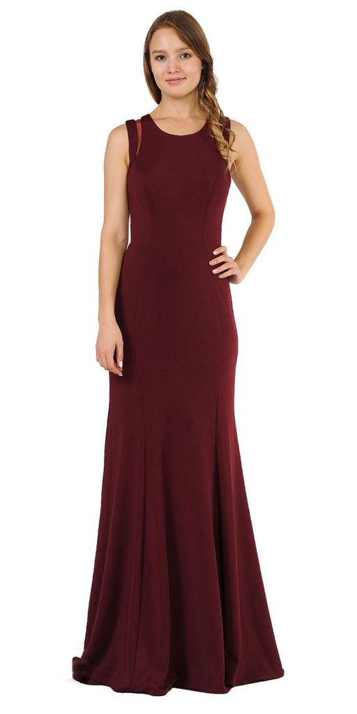Burgundy Long Prom Dress with Stylish Open Back