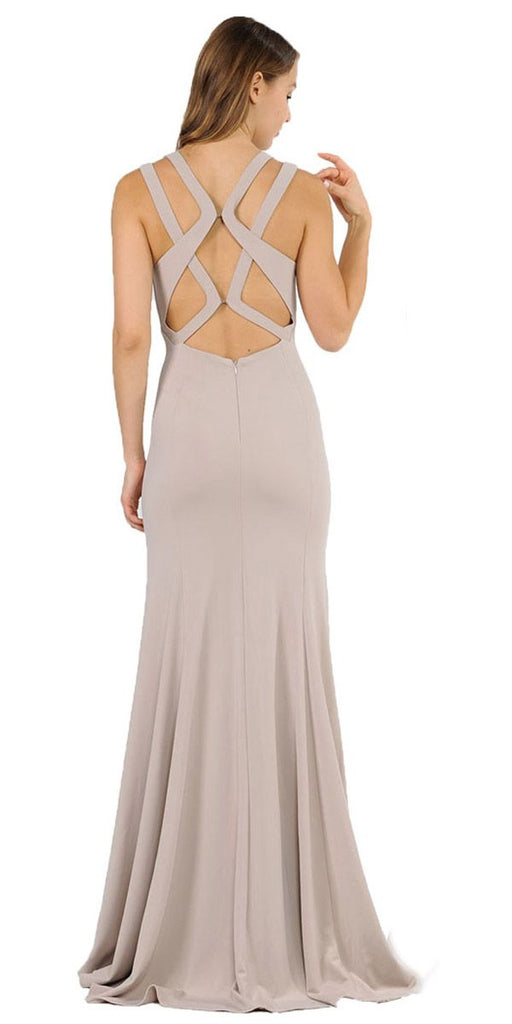 Mocha Long Prom Dress with Stylish Open Back