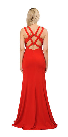 Red Long Prom Dress with Stylish Open Back