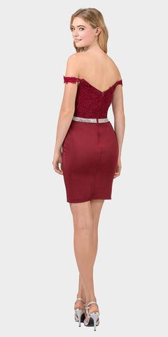 Off-Shoulder Short Fitted Homecoming Dress Burgundy