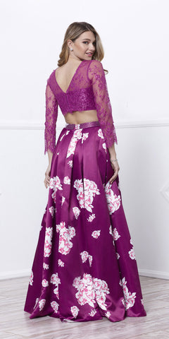 Magenta Lace Crop Top Satin Printed Skirt Prom Gown Long Sleeves Back View