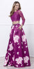 Magenta Lace Crop Top Satin Printed Skirt Prom Gown Long Sleeves