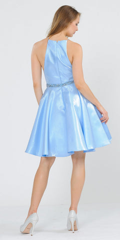 Poly USA 8236 Halter with Pockets Short Homecoming Dress Baby Blue