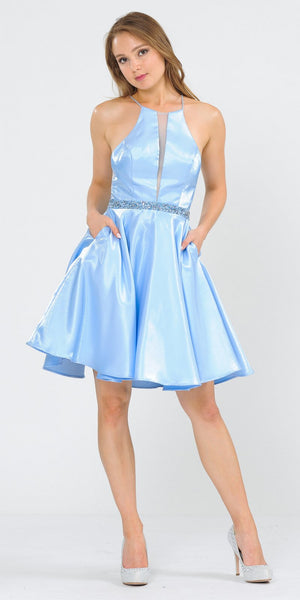 Halter with Pockets Short Homecoming Dress Baby Blue
