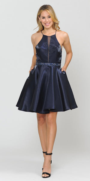 Poly USA 8236 Halter with Pockets Short Homecoming Dress Navy Blue