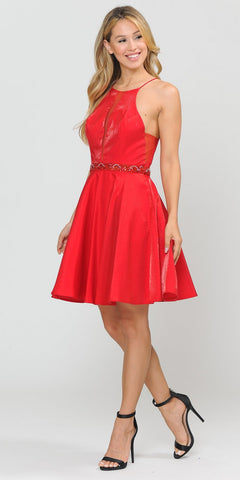 Embellished Waist with Pockets Homecoming Short Dress Red