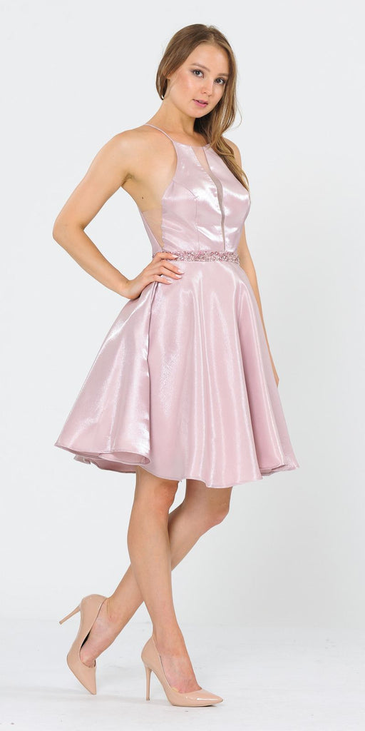 Poly USA 8236 Halter with Pockets Short Homecoming Dress Rose Gold