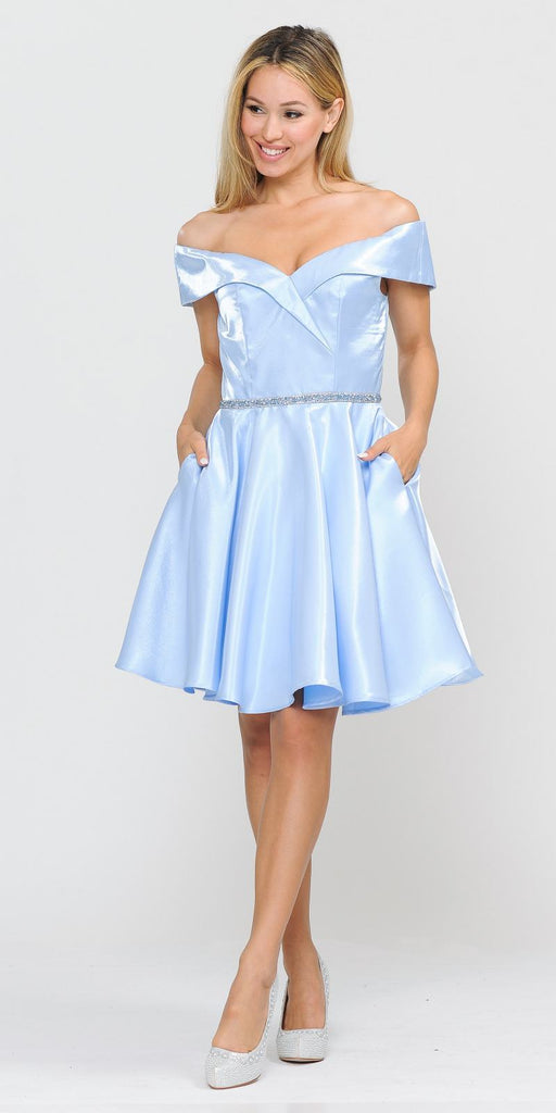 Poly USA 8238 Baby Blue Off-Shoulder Homecoming Short Dress with Pockets