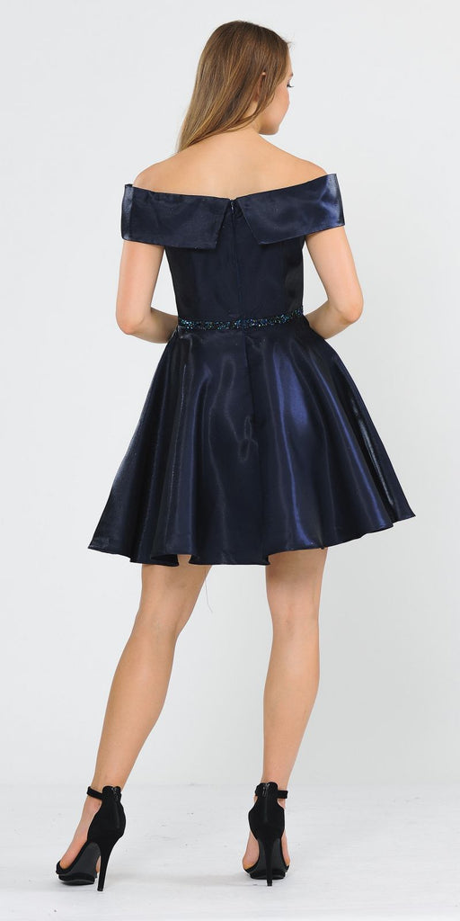 Poly USA 8238 Navy Blue Off-Shoulder Homecoming Short Dress with Pockets