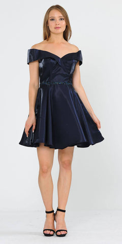 Navy Blue Off-Shoulder Homecoming Short Dress with Pockets