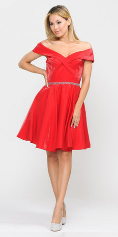 Poly USA 8238 Red Off-Shoulder Homecoming Short Dress with Pockets