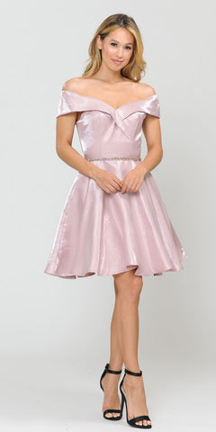 Poly USA 8238 Rose Gold Off-Shoulder Homecoming Short Dress with Pockets