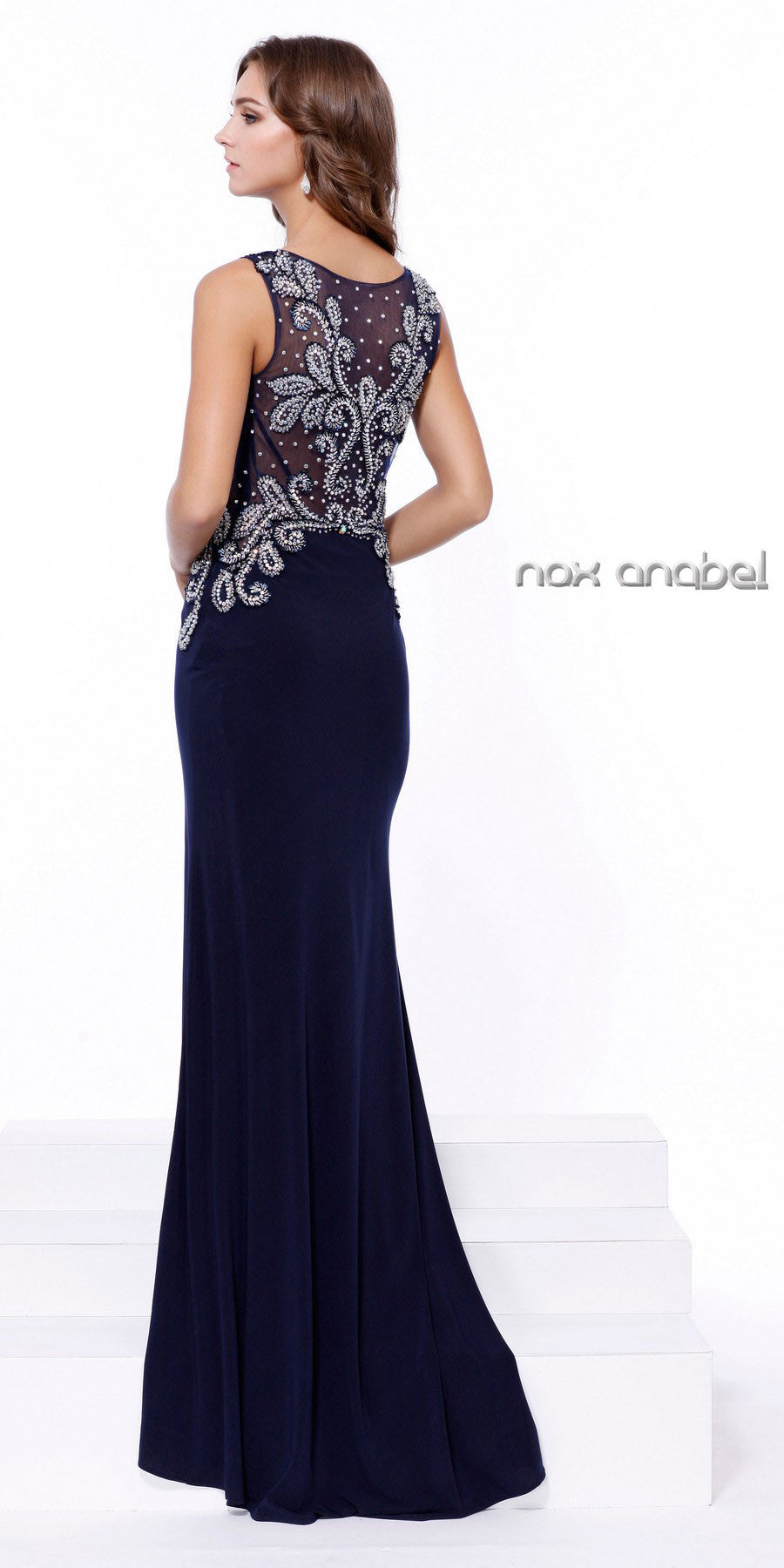 Embellished Top Fit and Flare Evening Gown with Train Navy Blue Back View