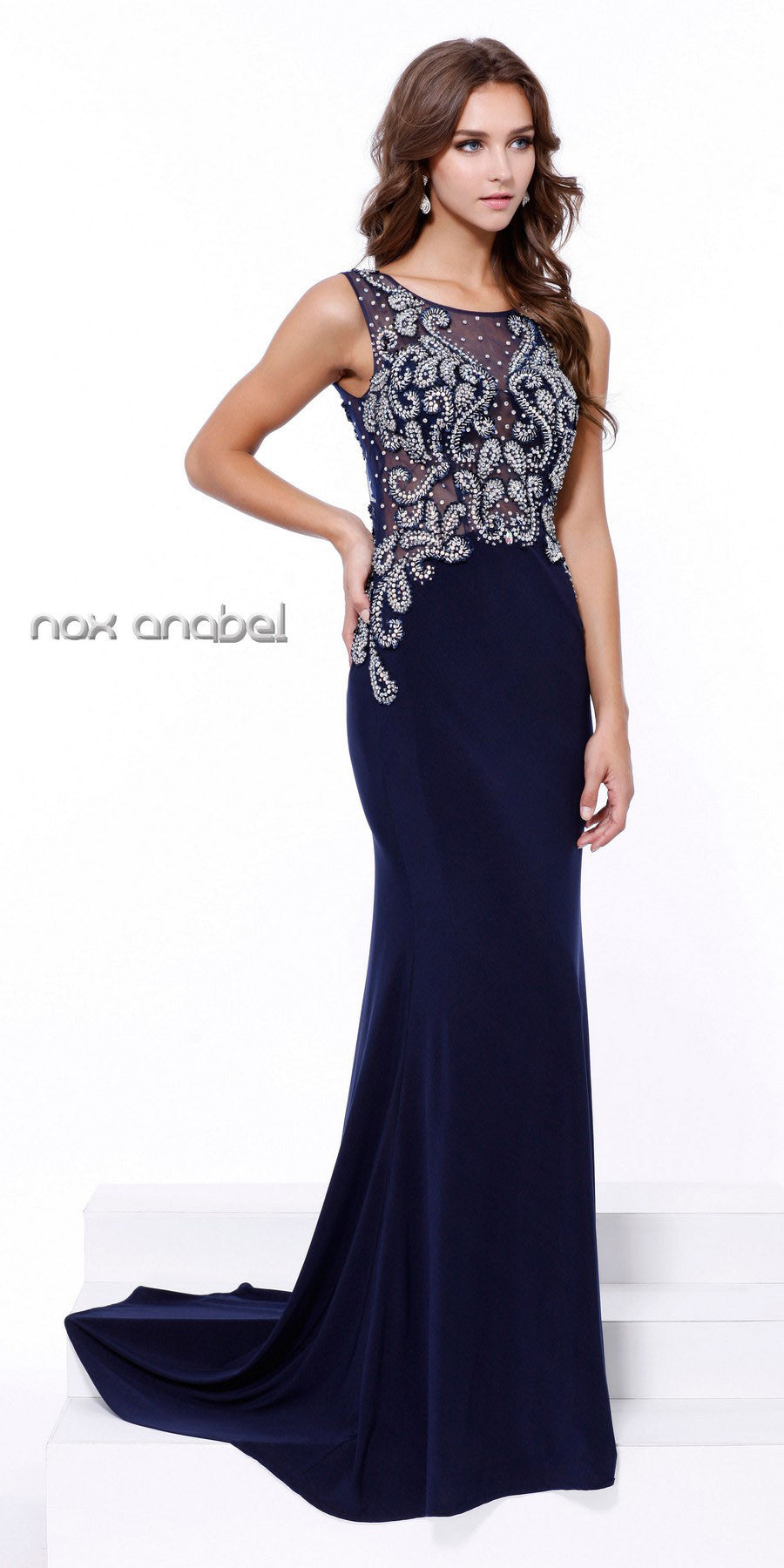 Embellished Top Fit and Flare Evening Gown with Train Navy Blue