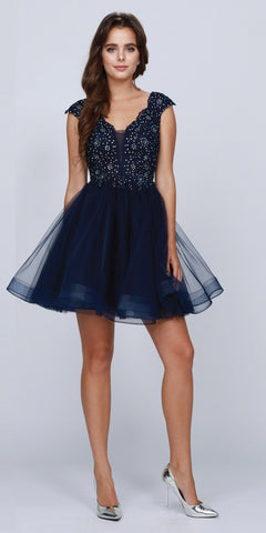 Navy Blue A-line Homecoming Short Dress Cap Sleeved