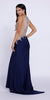 Navy Blue Scoop Neck Embellished Fit and Flare Prom Gown Long Back View