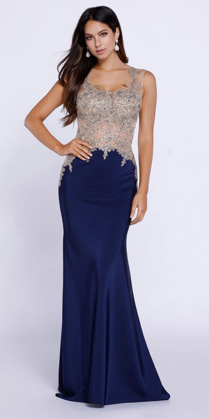 Navy Blue Scoop Neck Embellished Fit and Flare Prom Gown Long