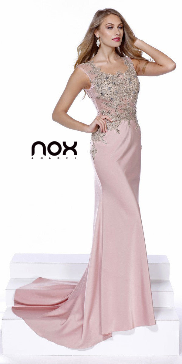 Rose Scoop Neck Embellished Fit and Flare Prom Gown Long