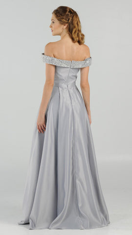 Silver Embellished Off-the-Shoulder Long Prom Dress A-line