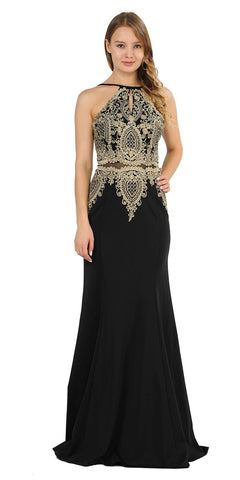 Keyhole Neck Appliqued Long Prom Dress Black