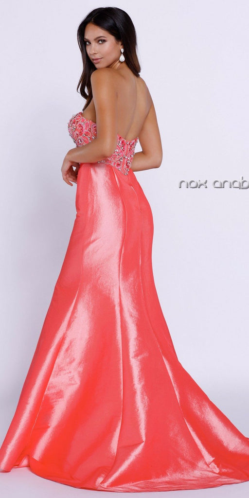 Strapless Coral Beaded Top Long Mermaid Prom Dress Taffeta Back View