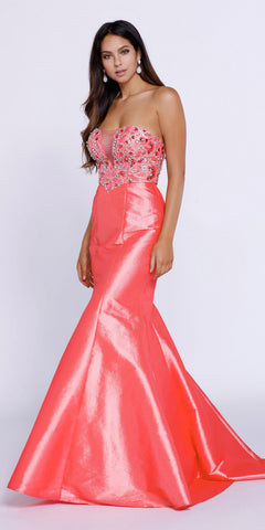 Strapless Coral Beaded Top Long Mermaid Prom Dress Taffeta