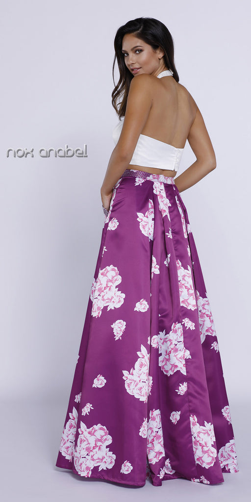 Two Piece Halter Crop Top Printed Skirt Prom Dress with Pockets Back View