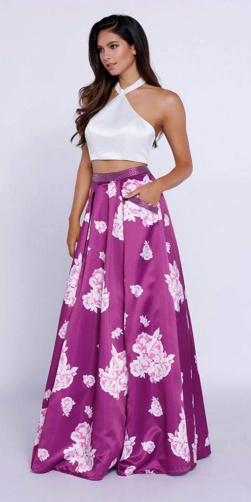 Two Piece Halter Crop Top Printed Skirt Prom Dress with Pockets