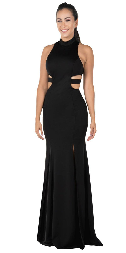 Black Racer Back Long Prom Dress with Side Cut-Outs