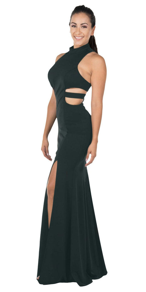 Green Racer Back Long Prom Dress with Side Cut-Outs