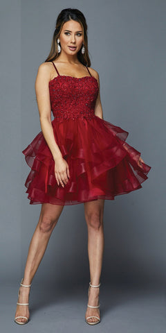 Lace-Up Back Ruffled Short Prom Dress Burgundy