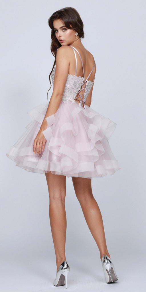 Lace-Up Back Ruffled Short Prom Dress Mauve