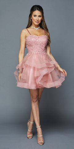 Lace-Up Back Ruffled Short Prom Dress Rose