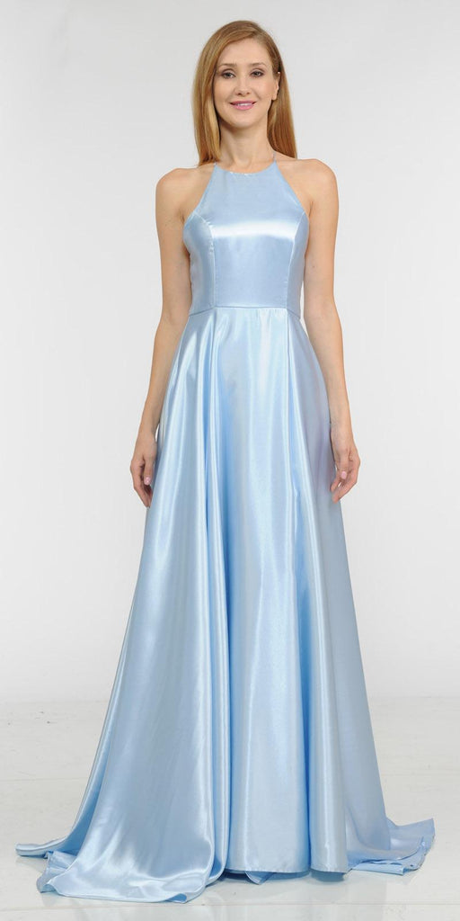Blue Faux-Wrap Floor Length Prom Dress Strappy Open Back