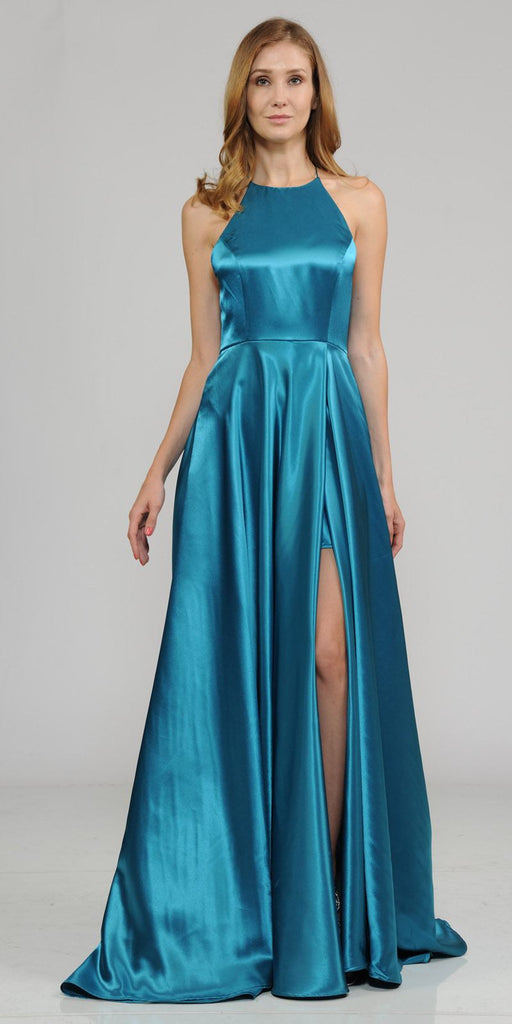 Teal Faux-Wrap Floor Length Prom Dress Strappy Open Back