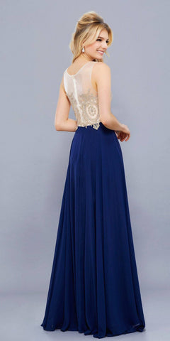Navy Blue Appliqued Bodice A-Line Chiffon Formal Dress Sleeveless