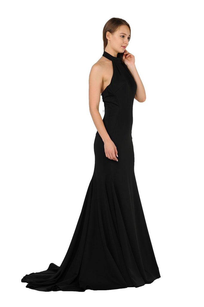 Halter High Neckline Long Prom Dress with Train Black
