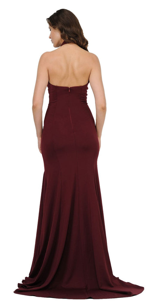 Halter High Neckline Long Prom Dress with Train Burgundy