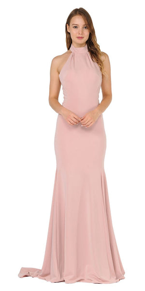 Halter High Neckline Long Prom Dress with Train Rose Gold