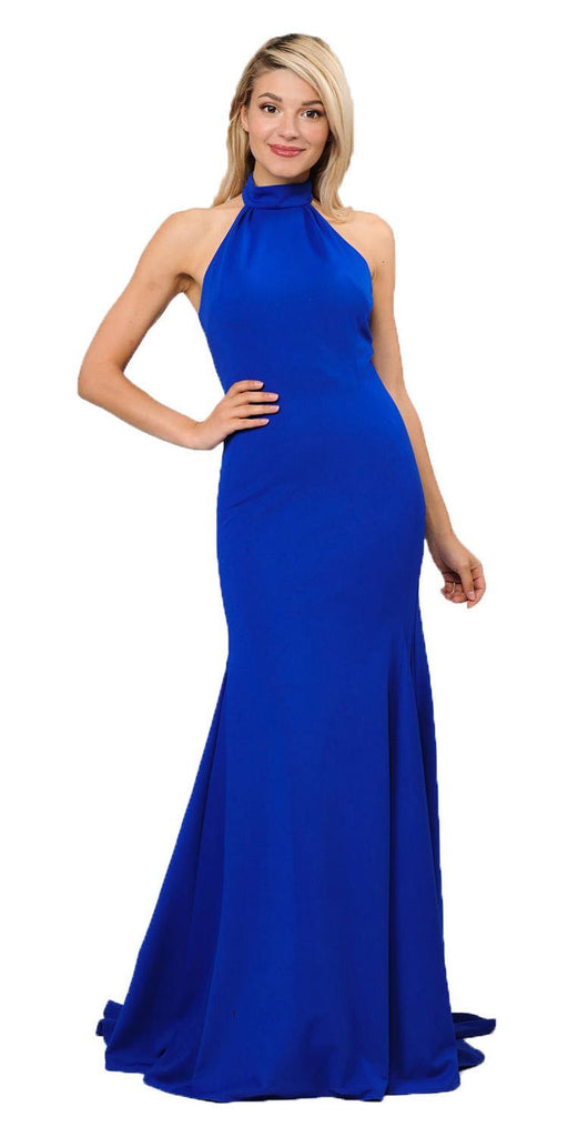 Halter High Neckline Long Prom Dress with Train Royal Blue