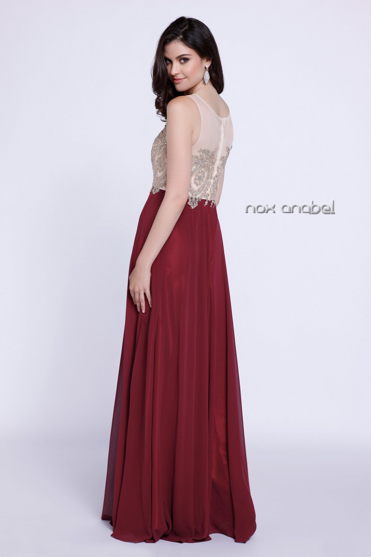 Burgundy Appliqued Bodice A-Line Chiffon Formal Dress Sleeveless Back View